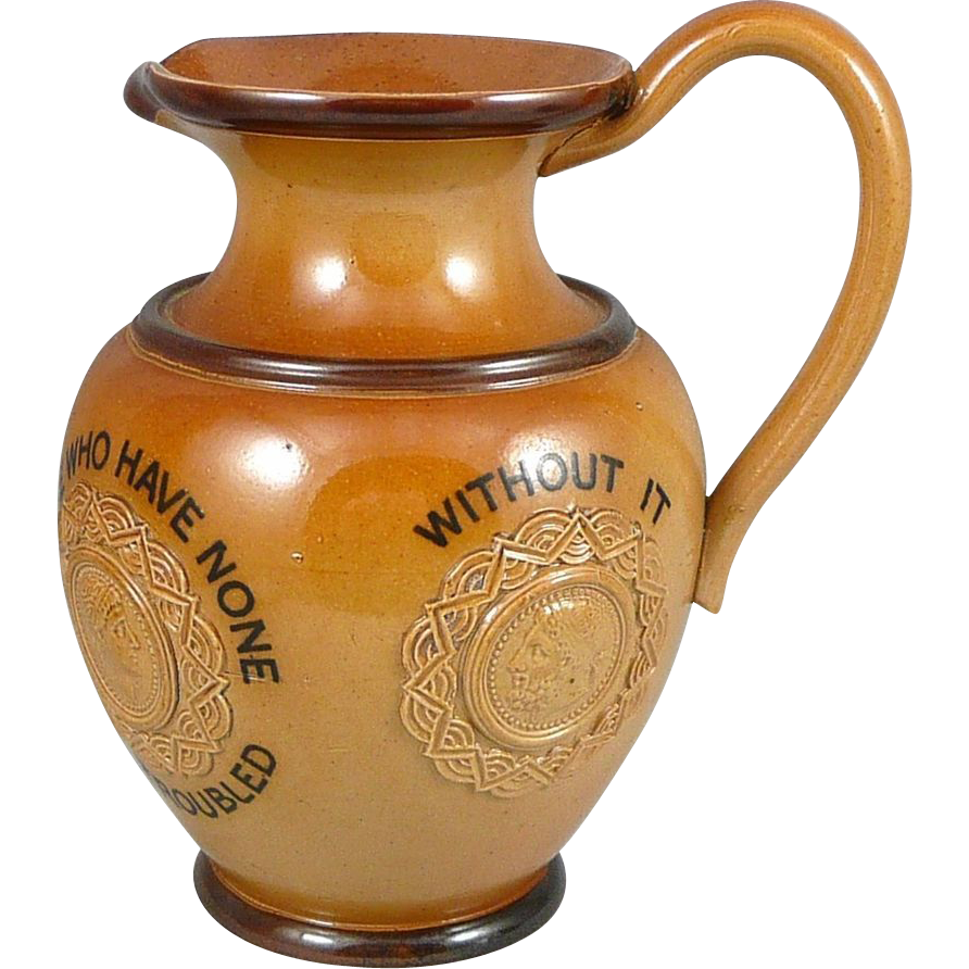 Antique Doulton Lambeth Money Motto Jug