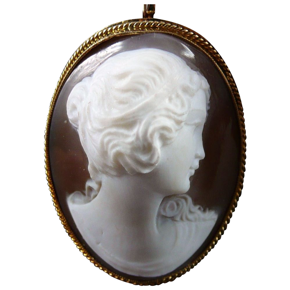 Vintage 14K Gold Shell Cameo Pendant, High Relief