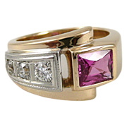 Vintage 14K Gold Pink Sapphire And Diamond Estate Ring - Heavy