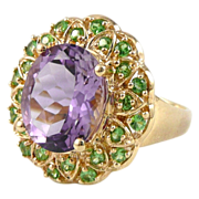 Vintage 10K Gold Amethyst Peridot Cocktail Ring