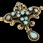 Vintage 14K Gold Opal Seed Pearl Brooch / Pendant