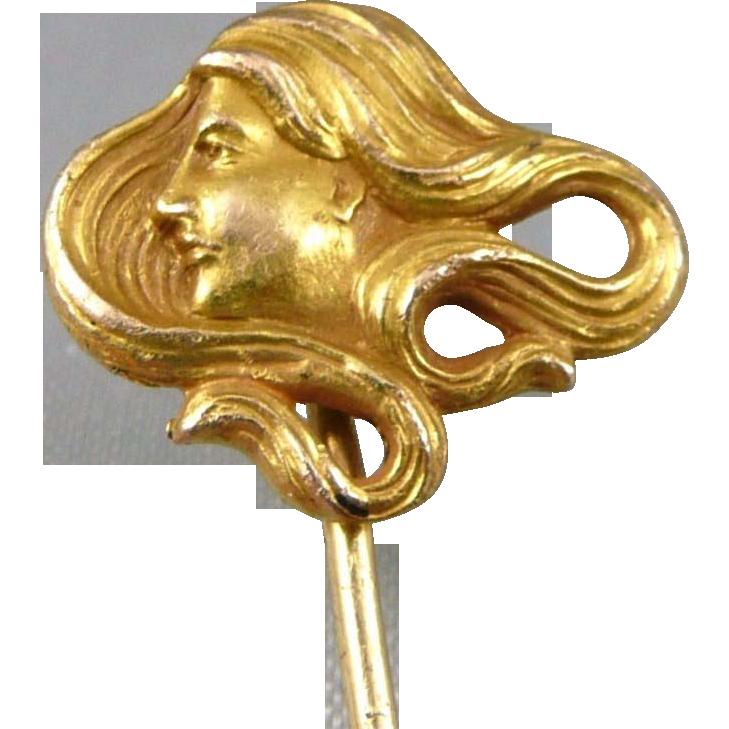 Antique 14K Gold Stickpin, Art Nouveau Lady