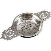 Vintage Sterling Silver Tea Strainer, Double Handle by Currier and Roby