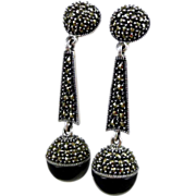 Vintage Judith Jack Sterling Drop Earrings With Marcasite And Onyx
