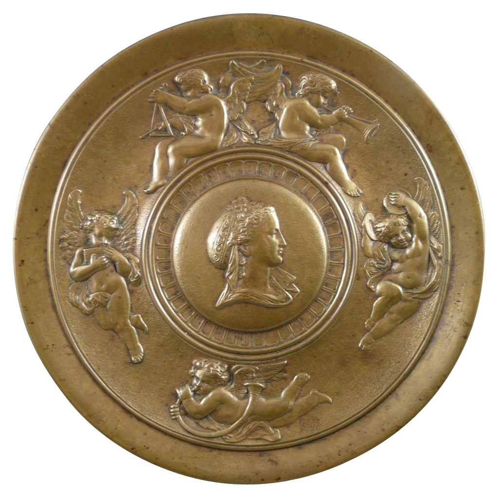 Antique French Neo-Classical Bronze Tazza with Cherubs