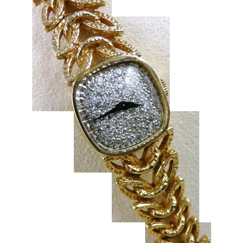 Vintage 14k gold diamond longines wittnauer watch ladies vintage 14k gold diamond longines wittnauer watch ladies wristwatch sciox Choice Image