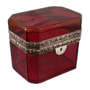 Antique French Cranberry Glass Jewelry Casket Or Box