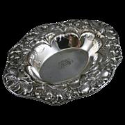 Antique Oval Sterling Silver Bowl, Art Nouveau Repousse By Gorham