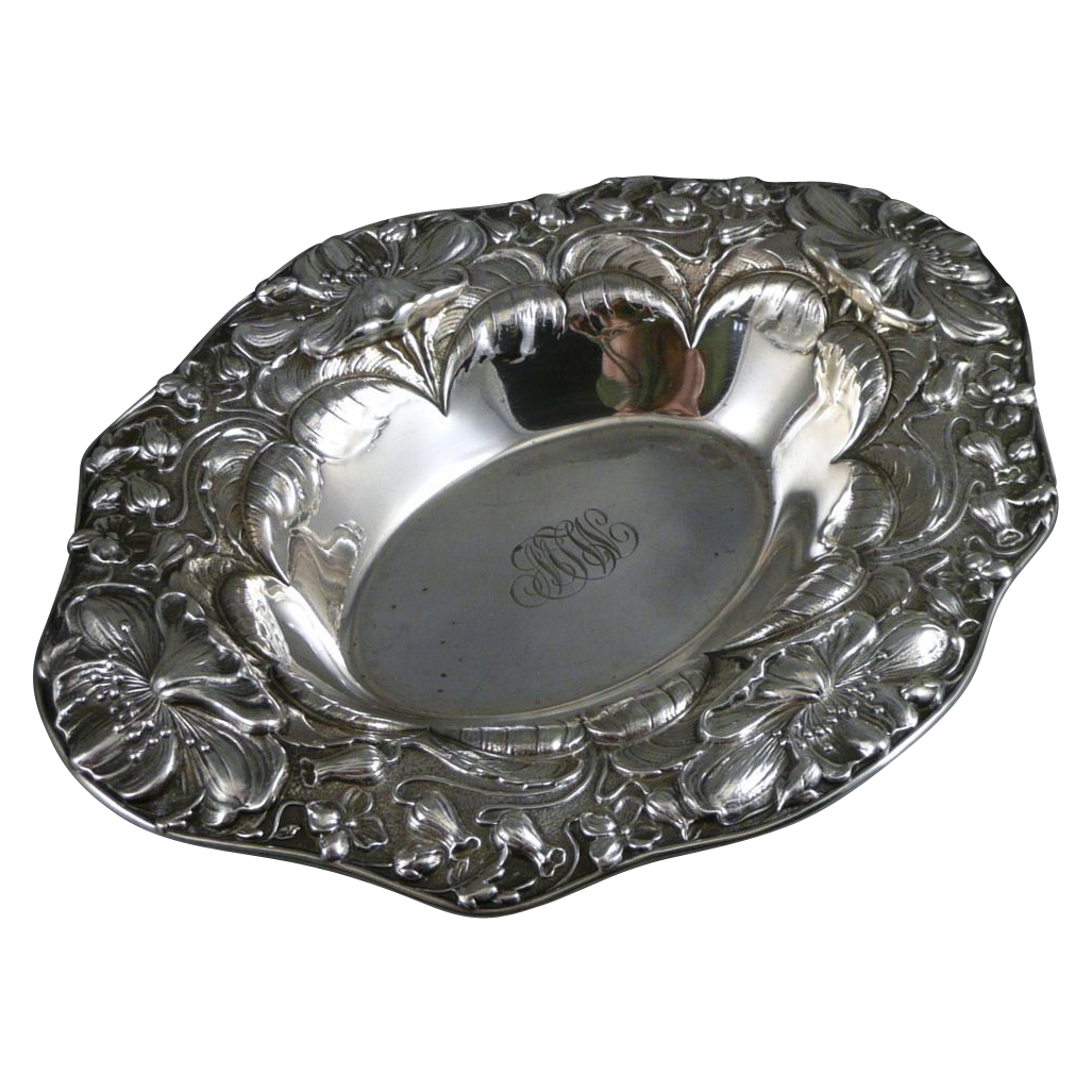 Antique Oval Sterling Silver Bowl, Art Nouveau Repousse By Gorham