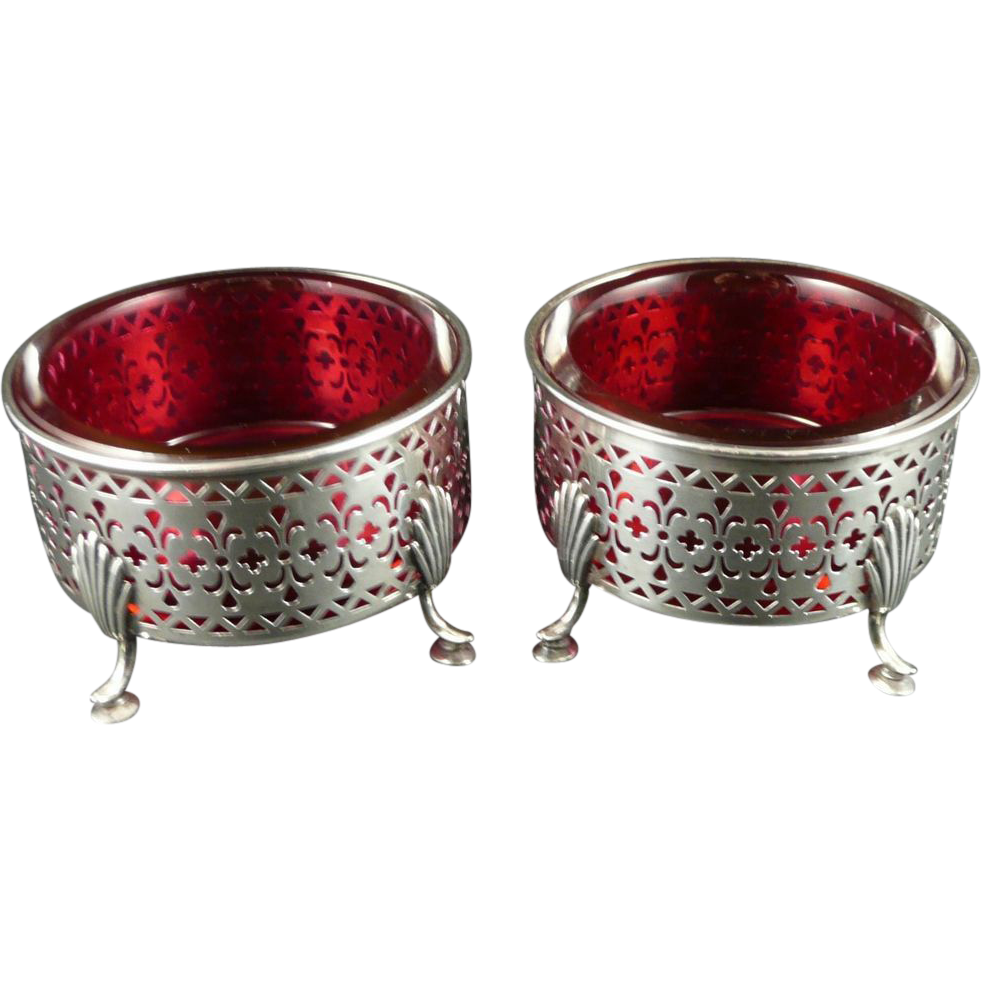 Antique Gorham Sterling Silver Footed Master Salts With Cranberry Glass
