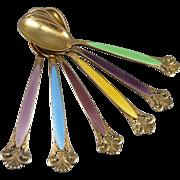 Vintage Sterling Silver Enamel Demitasse Spoons - Set of 6 By Marthinsen of Norway