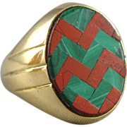 Vintage Unique 14K Gold Agate Inlay Ring - Unisex