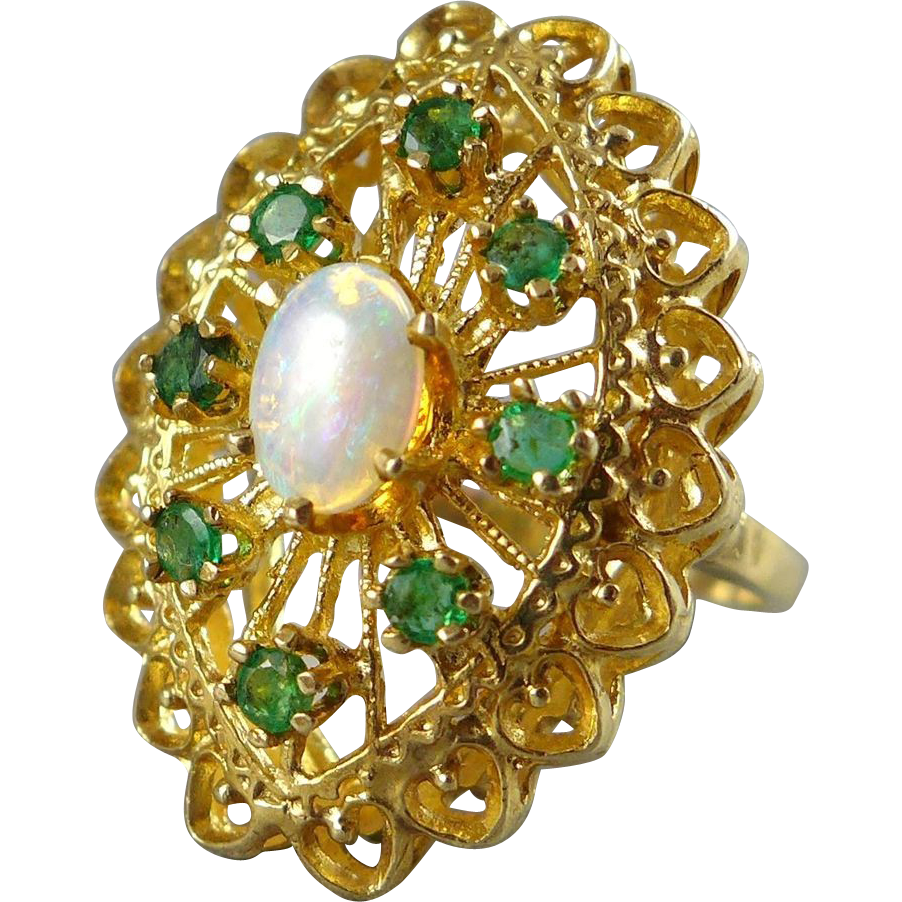 Vintage 14K Gold Opal Emerald Cocktail Ring