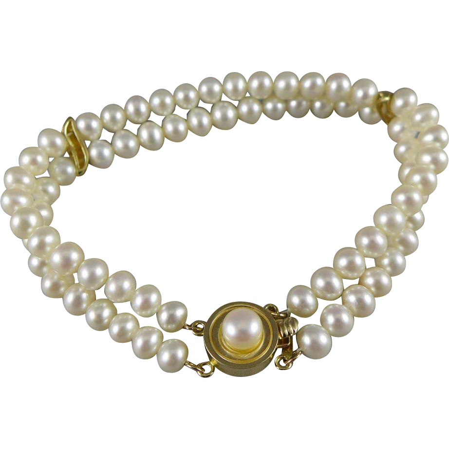 Vintage 14K Gold Cultured Pearl Bracelet, Double Strand