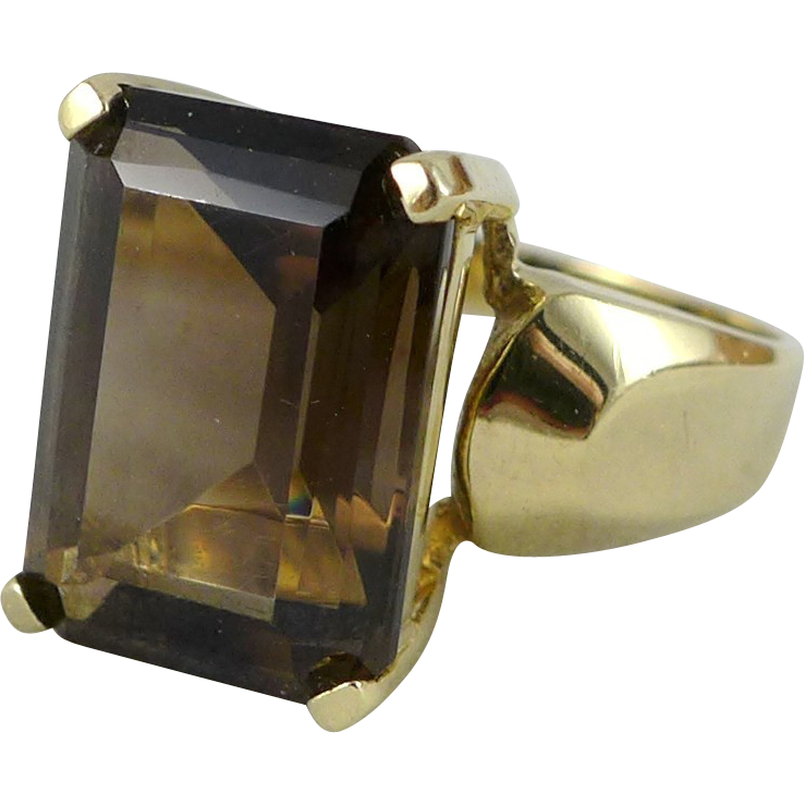 vintage 10k gold smoky quartz ring signed skal from