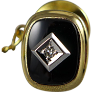 Vintage 14K Gold Onyx Tie Tack with Diamond Accent