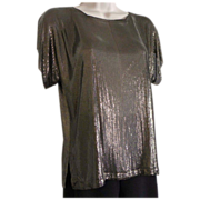 Whiting and Davis Bronze Color Metal Mesh Blouse 1970's Reversible Top