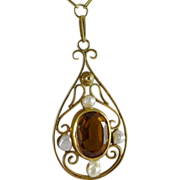 Antique 14K Citrine & Baroque Cultured Pearl Lavalier Necklace