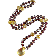 Vintage 14K Gold Beaded Gemstone Necklace, Garnets And Citrines