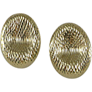Vintage 14K Gold Diamond Cut Oval Earrings
