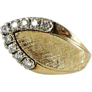 Vintage 14K Gold Diamond Retro Ring