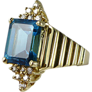 Vintage 14K Gold Blue Topaz Diamond Ring