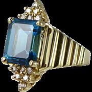 Vintage 14K Gold Blue Topaz Diamond Ring