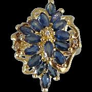 Vintage 14K Gold Sapphire Diamond Ring, Cocktail Style