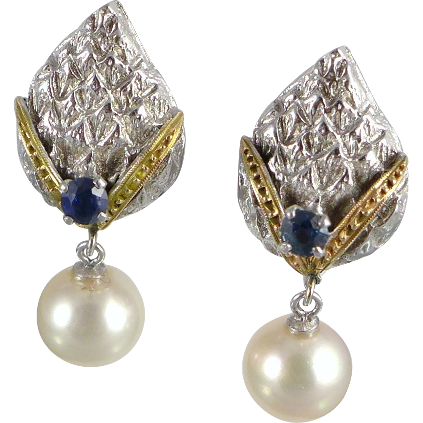 Vintage 14K Cultured Pearl, Sapphire Earrings, White Gold Mid Century