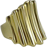Heavy, Vintage 14K Gold Ribbed Cigar Band Ring