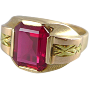 Vintage Art Deco 10K Gold Ruby Ring - Unisex