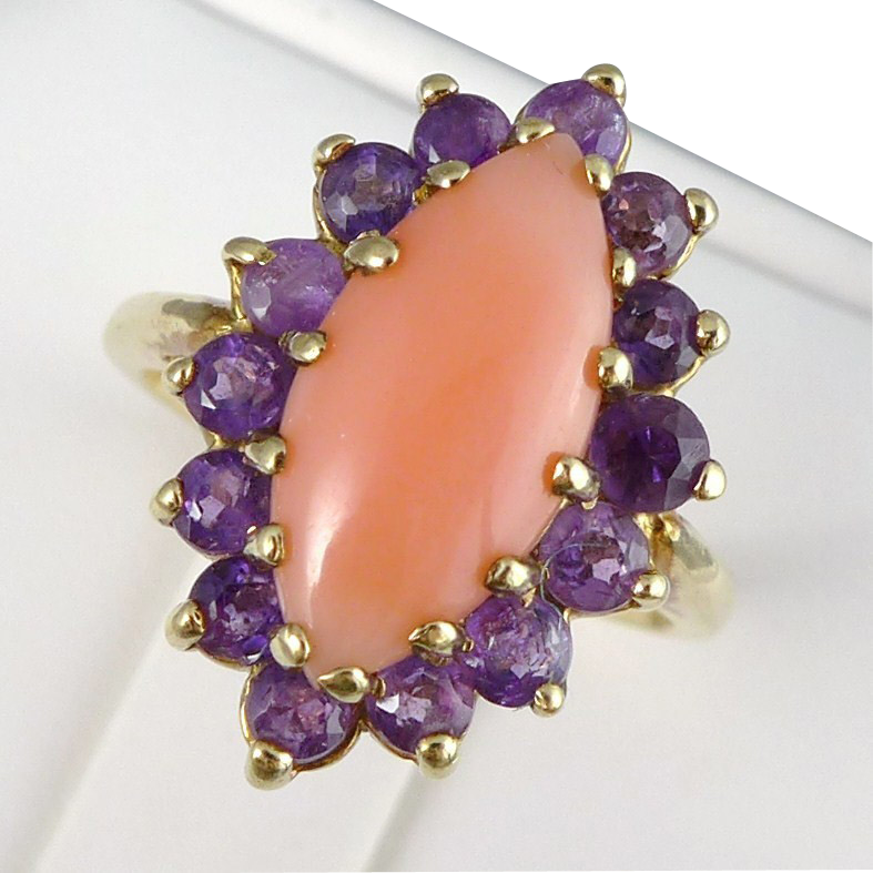 Vintage 14K Gold Coral and Amethyst Ring