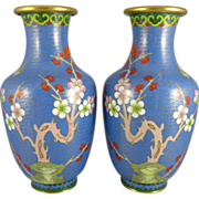 Pair of Chinese Cloisonne Vases - Turquoise