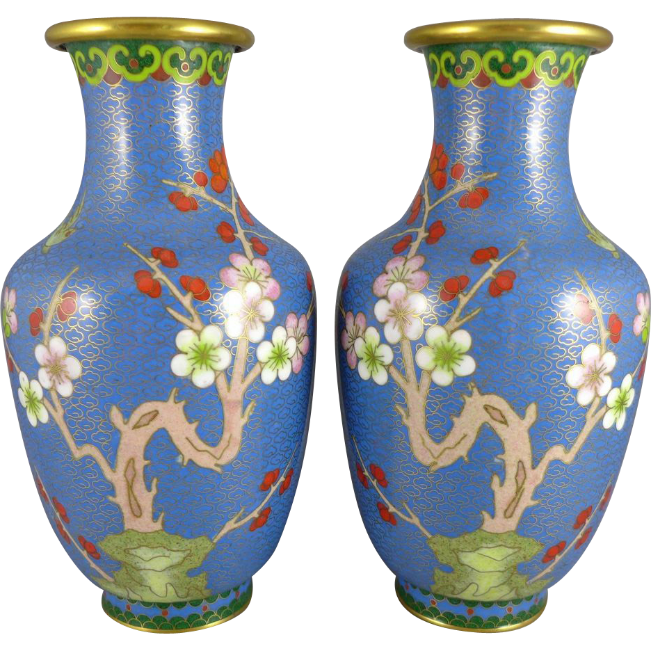 Pair Of Chinese Cloisonne Vases Turquoise Sold Ruby Lane