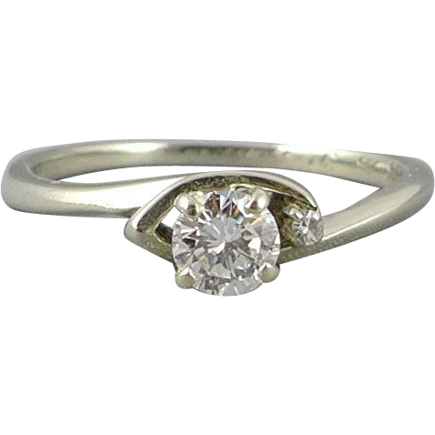 Vintage 14K White Gold Solitaire Diamond Ring With Accent Diamond