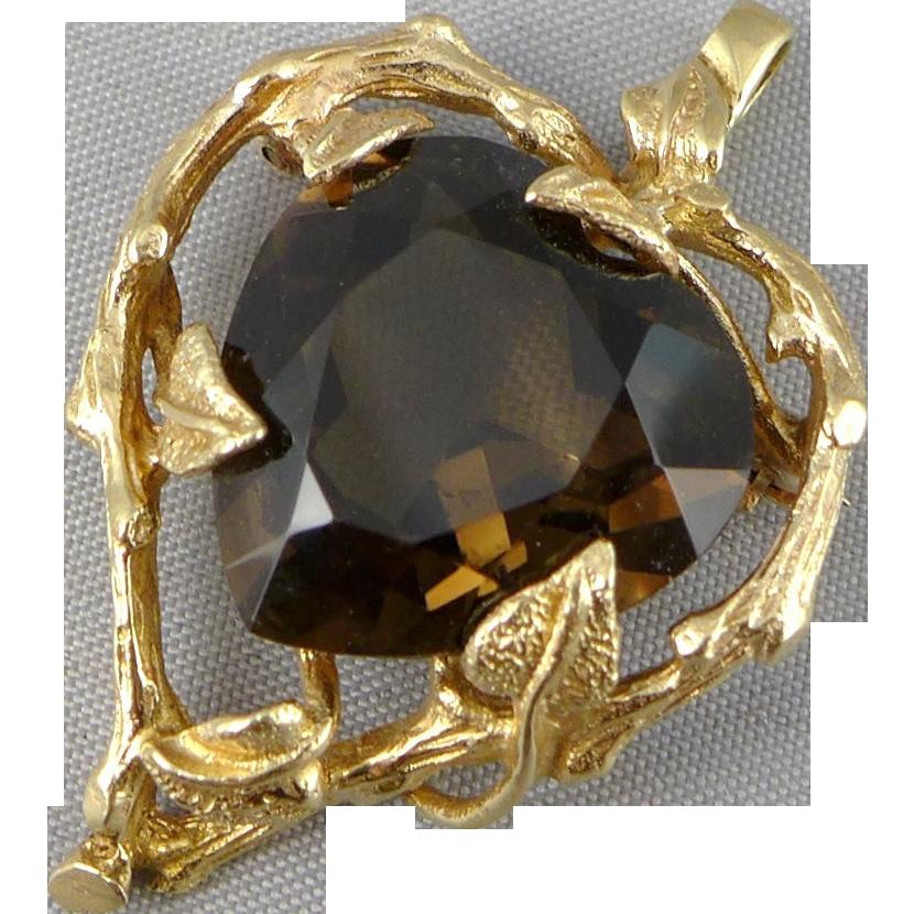 Vintage 14K Gold Smoky Quartz Pendant / Brooch, Large Heart Shaped