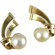 Vintage 14K Gold Cultured Pearl Clip Earrings