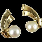 Vintage 14K Gold Cultured Pearl Clip Earrings