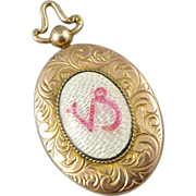 Antique Victorian 10K Rose Gold Enamel Locket - Capricorn Zodiac Symbol