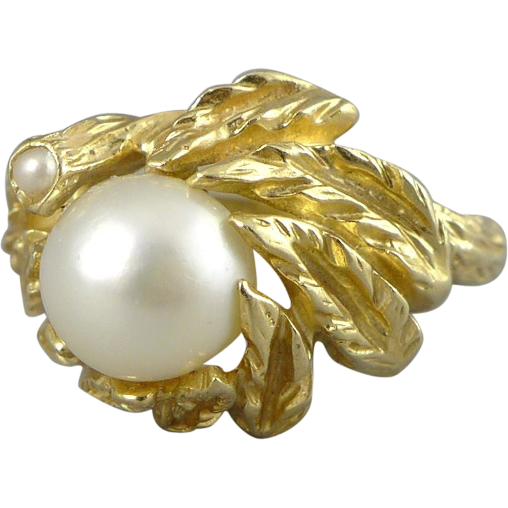 Vintage 14K Gold Cultured Pearl Ring