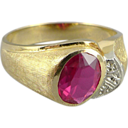 Vintage Men's 10K Gold Synthetic Ruby Ring