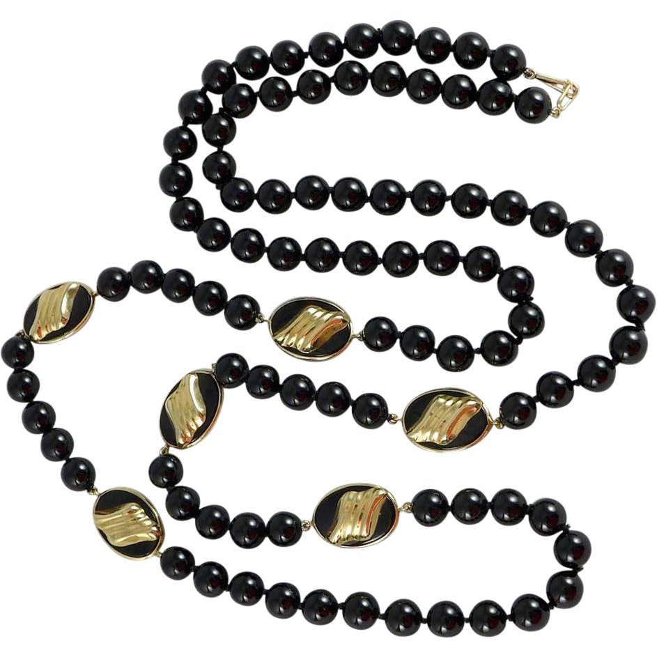 Vintage 14K Gold Black Onyx Necklace - Opera Length