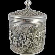 Vintage Dutch Silverplate Tea Caddy Herbert Hooijkaas, HH 90, Douwe and Egberts