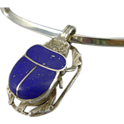 Vintage Sterling and 800 Silver Egyptian Scarab Necklace - Lapis