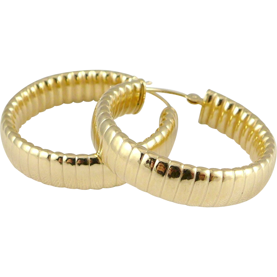 Vintage 14K Gold Ribbed Hoop Earrings