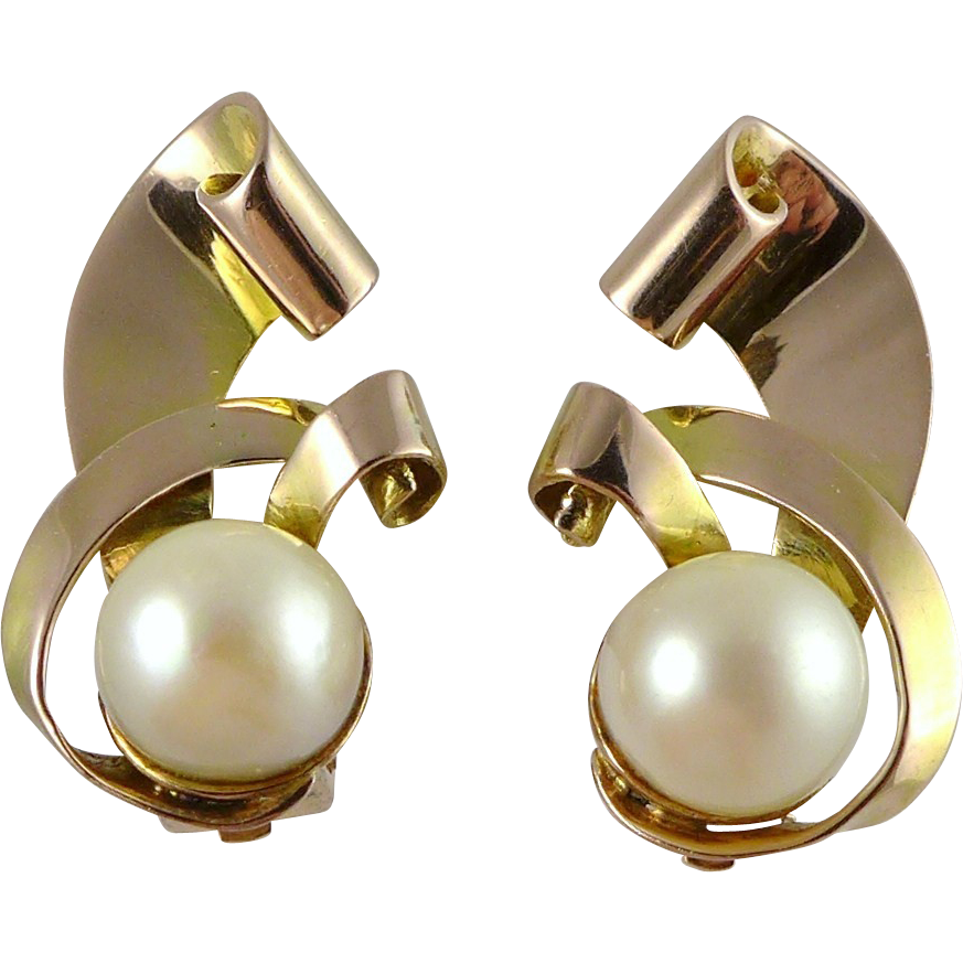 Vintage 14K Retro Rose Gold and Cultured Pearl Earrings