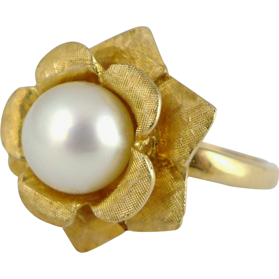 Vintage 14K Gold Cultured Pearl Ring - Kimberly