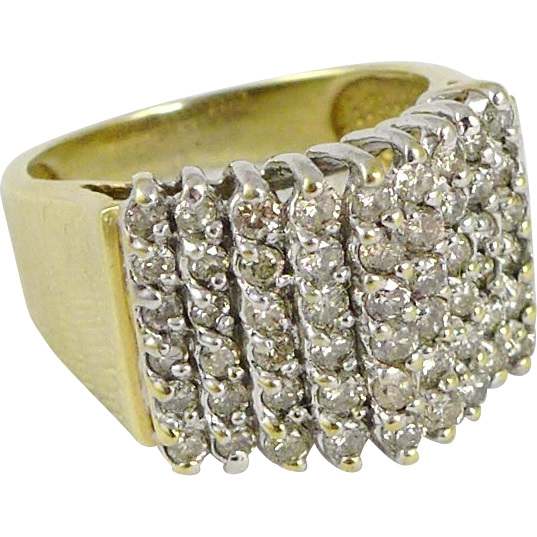 Vintage 10K Gold Wide Diamond Band Ring - 1.6 Carats