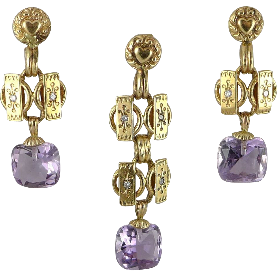 Antique European 14K Gold Amethyst Demi-Parure Earring and Pendant Set