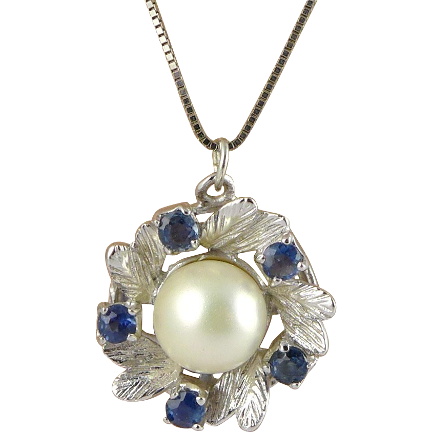 Vintage 14K White Gold, Cultured Pearl and Sapphire Necklace